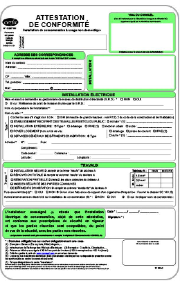 les diff u00e9rents certificats du consuel  jaune  bleu  vert