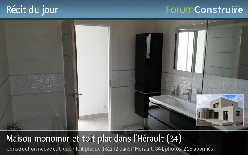 Maison monomur et toit plat dans l'Hérault (34)