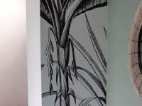 Papier Peint Intisse Imprime Jungle Noir Et Blanc