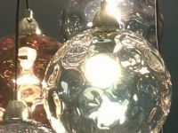 Ilaria, Suspension Multiple 5 Ampoules, Verre Teinte Multicolore Et Laiton