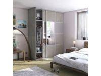 Porte De Placard Coulissante Effet Beton / Miroir L.67 X H.250 Cm