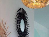 Miroir En Rotin Noir