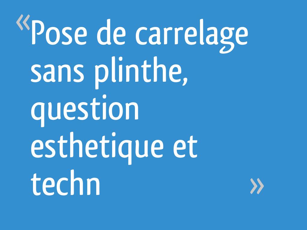 Pose De Carrelage Sans Plinthe Question Esthetique Et Techn 10 Messages