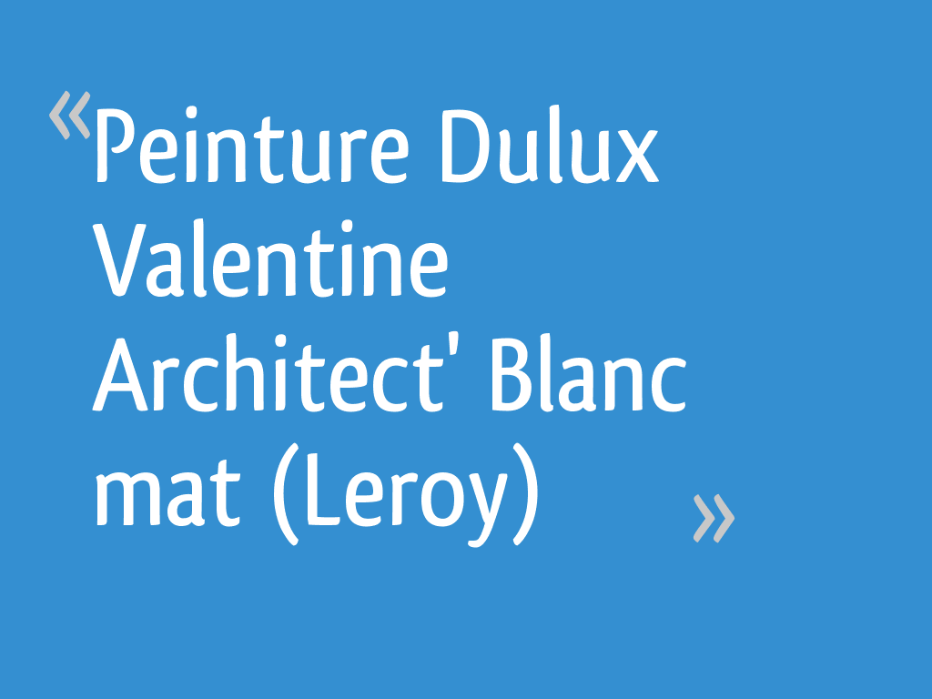 Peinture Dulux Valentine Architect Blanc Mat Leroy