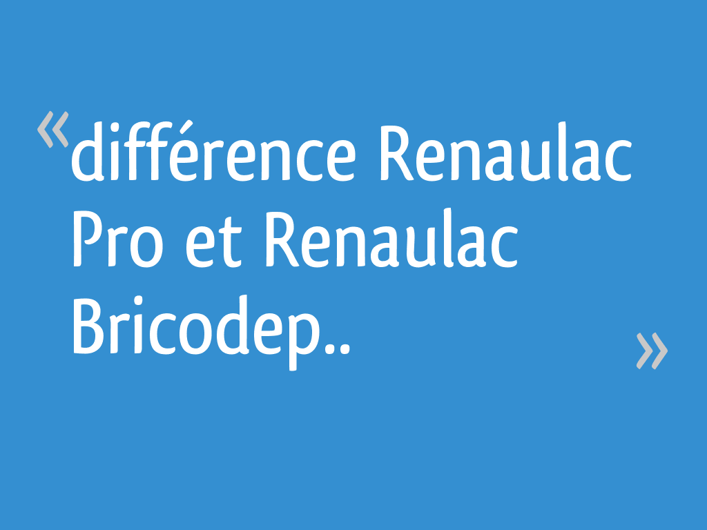 Difference Renaulac Pro Et Renaulac Bricodep 18 Messages