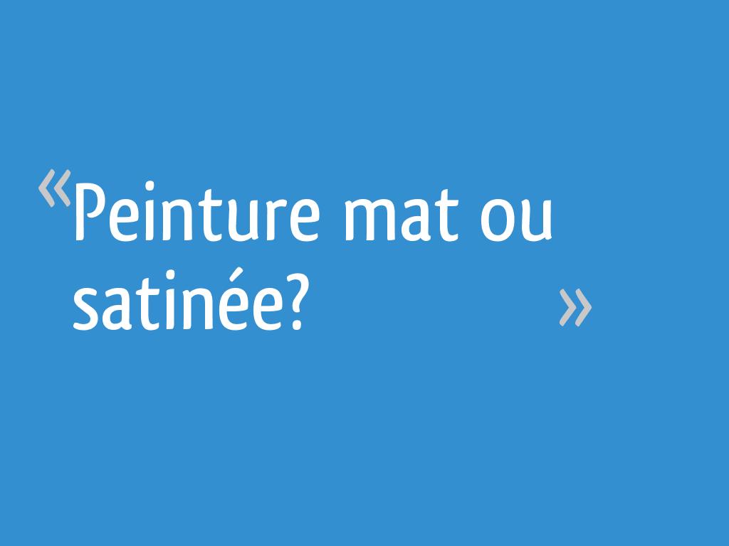Choisir Peinture Mat Ou Satinée peinture mat ou satinée? - 13 messages