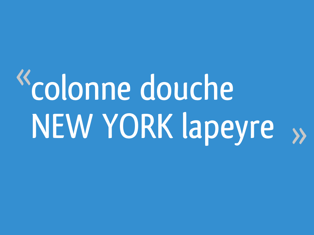 Colonne Douche New York Lapeyre 15 Messages