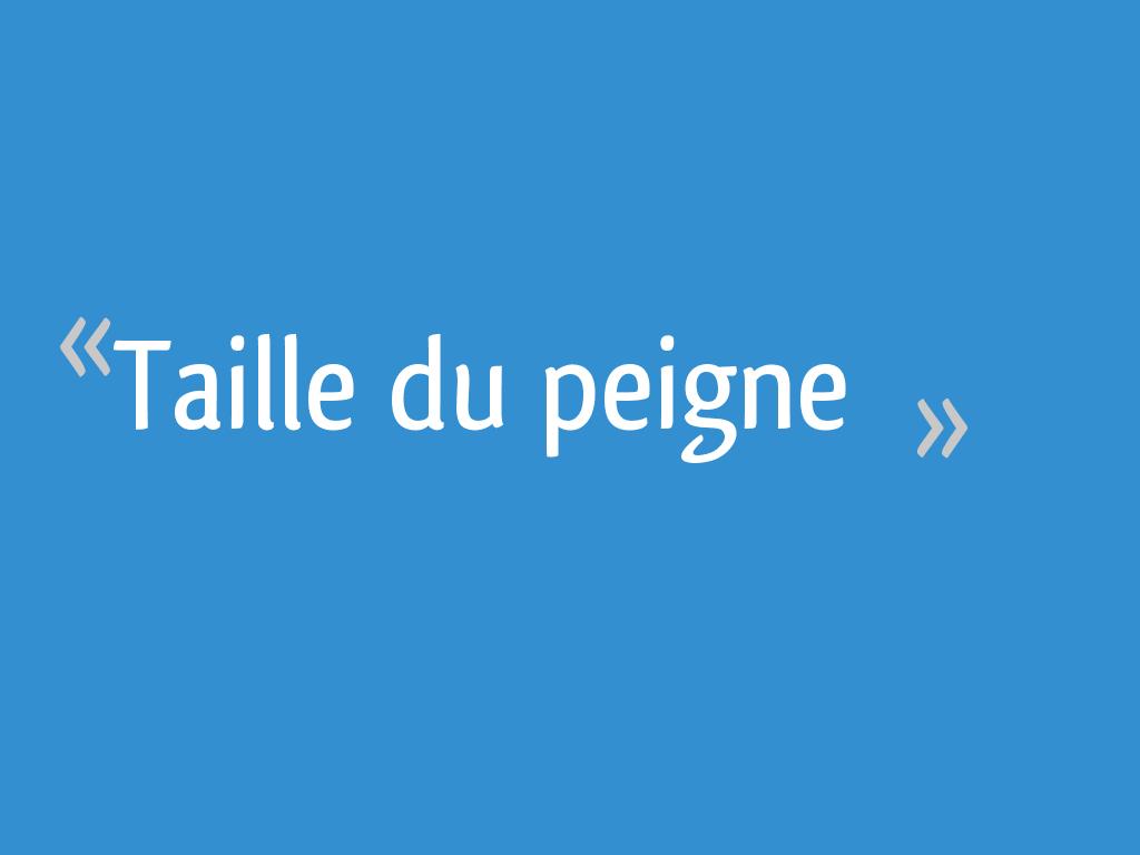 Taille Du Peigne 8 Messages
