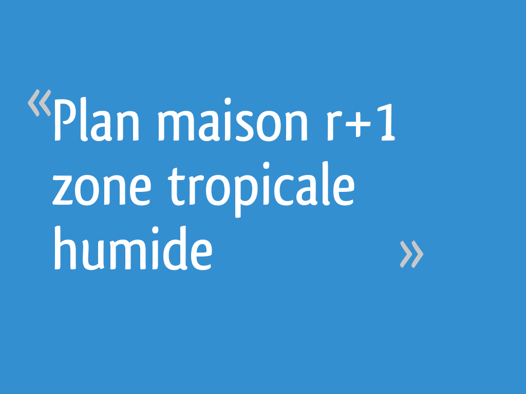 Plan Maison R 1 Zone Tropicale Humide 22 Messages