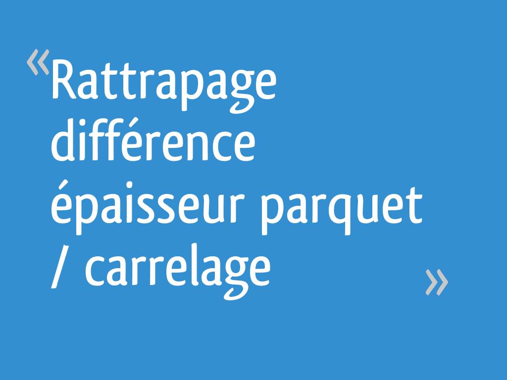 Seuil De Porte Différence De Niveau rattrapage différence épaisseur parquet / carrelage - 13