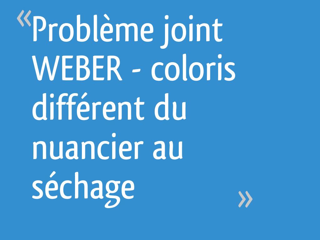 Extremement Problème joint WEBER - coloris différent du nuancier au séchage QN-21
