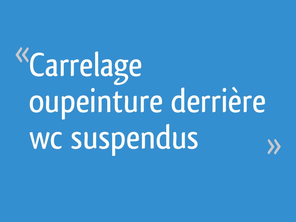 Carrelage Oupeinture Derrière Wc Suspendus 8 Messages