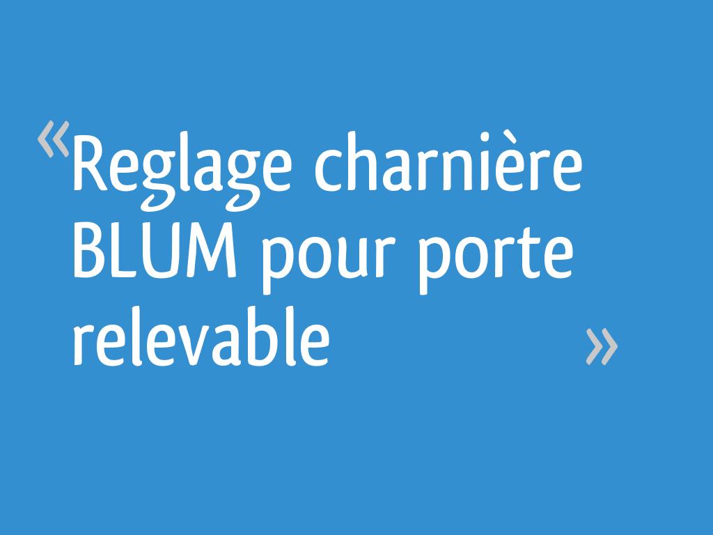 Reglage Charniere Blum Pour Porte Relevable 23 Messages