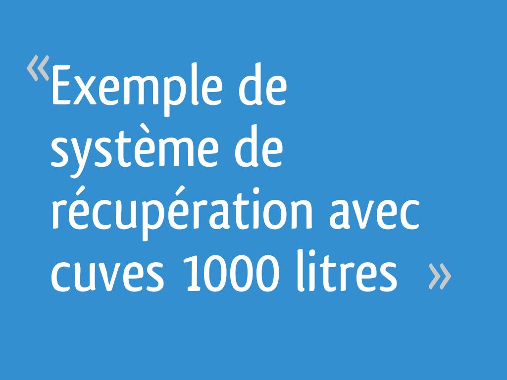 Exemple De Système De Récupération Avec Cuves 1000 Litres