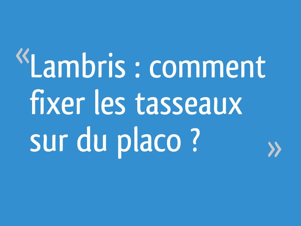 Comment Fixer Des Tasseaux lambris : comment fixer les tasseaux sur du placo ? - 6 messages