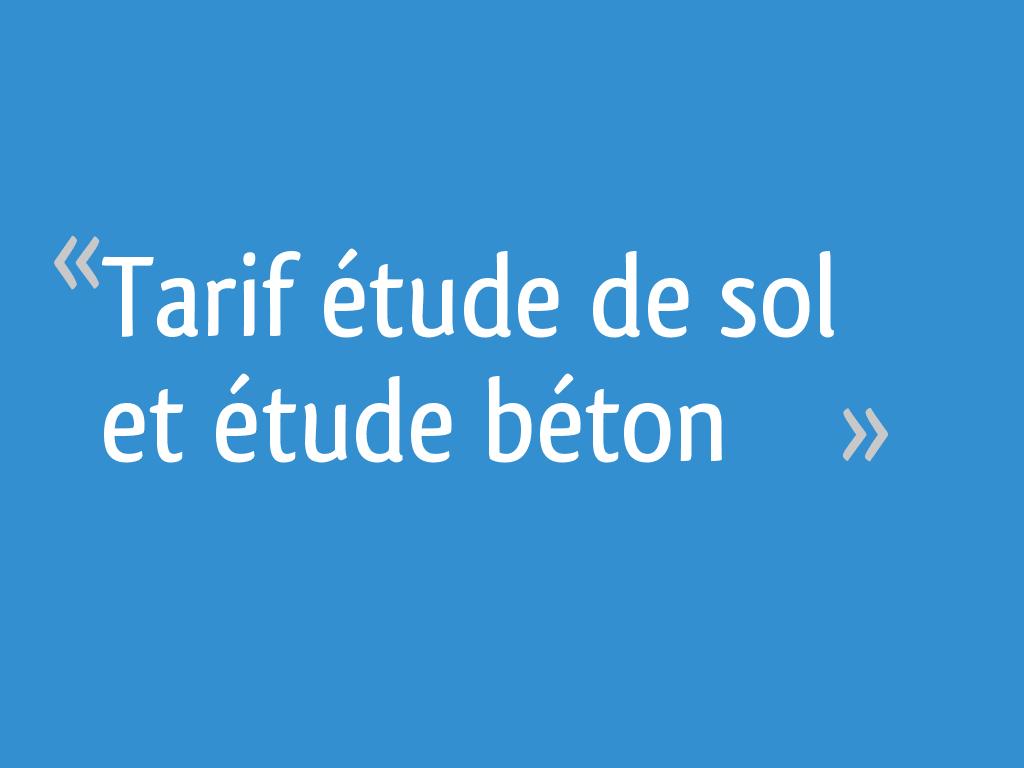 Bureau D Étude Béton Marseille tarif étude de sol et étude béton - 17 messages